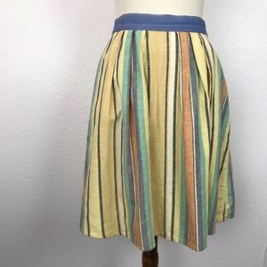Anthropologie Odille Full Pleated Striped Skirt